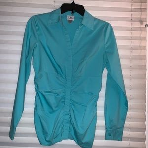 2/$10 Fitted turquoise button down with stretch